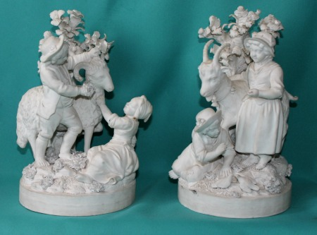 Pair French Biscuit Porcelain Figures