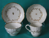 Caughley Porcelain Coffee Cup, Tea-bowl and 2 Saucers c.1785-90