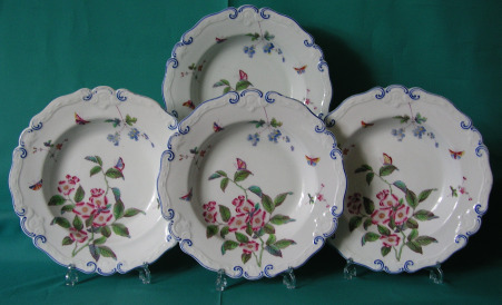 Four Chamberlain-Worcester Soup Plates c.1846