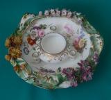 A Coalport Coalbrookdale Flower Encrusted Porcelain Inkwell c.1840