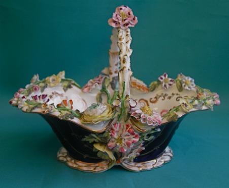 A Coalport flower-encrusted basket c.1830