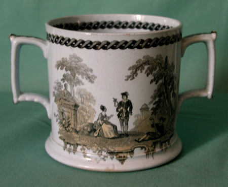 An unusual Staffordshire Drabware Loving Cup c.1840