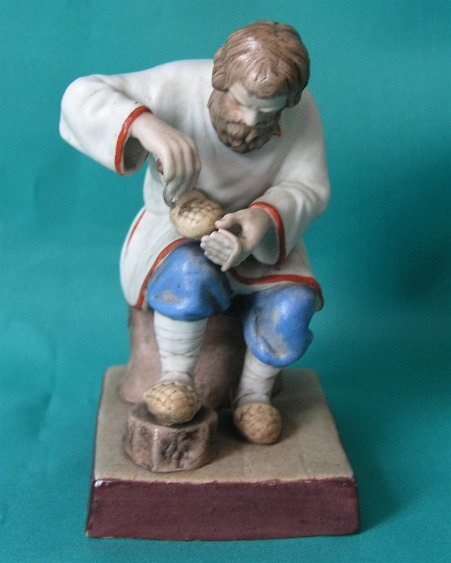 A Gardner Porcelain Figure of Lapti Plaiter c.1880