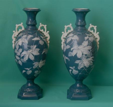 A Pair Of Grainger Worcester Pate Sur Pate Vases