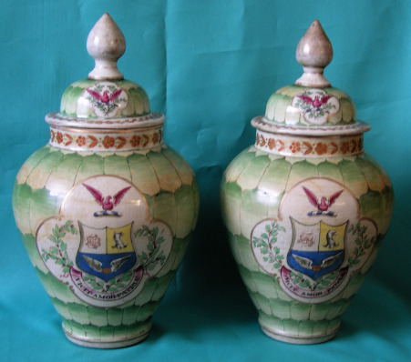 A Pair Of Japanese Armorial Porcelain Vases Decorated In
