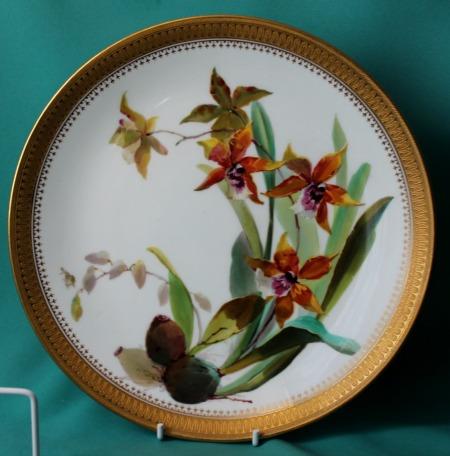 Four Minton Porcelain Plates Painted Orchids C 1874