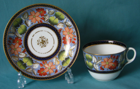 A New Hall tea cup and saucer c.1815