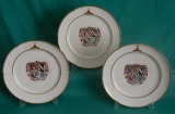 Three Paris Porcelain (La Courtille) Armorial Dinner Plates