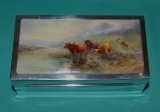 A Silver Cigarette Box with Royal Worcester Porcelain Plaque by H Stinton c.1929