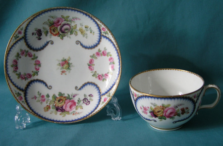 A Sevres porcelain cup and saucer, c.1770