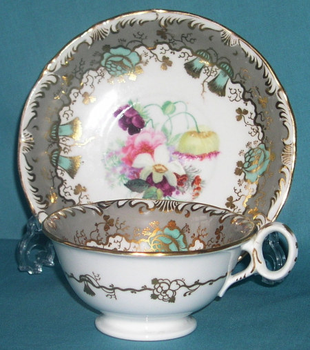 Samuel Alcock porcelain cup and saucer c.1835