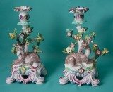 A pair of Bow Porcelain Candlesticks