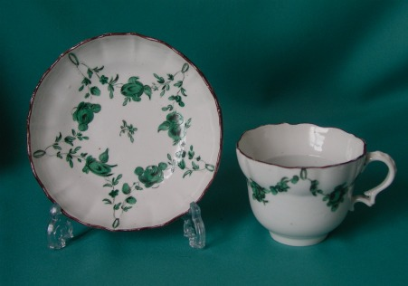 A Bristol Porcelain Cup and Saucer c.1775