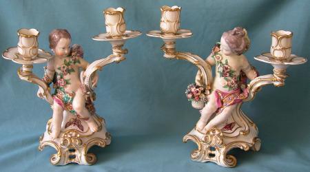 A Pair of Chelsea Porcelain Figural Candelabra c.1765