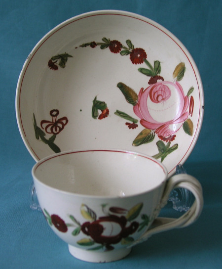 Yorkshire Creamware Tea Cup and Saucer c.1775