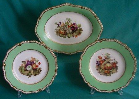 H & R Daniel Part Porcelain Dessert Set c.1830