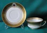 A Davenport Armorial tea cup and saucer c.1870-86