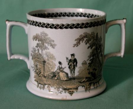 An unusual Staffordshire Drabware Loving Cup c.1840