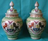 A Pair of 18th Century Japanese Armorial Vases