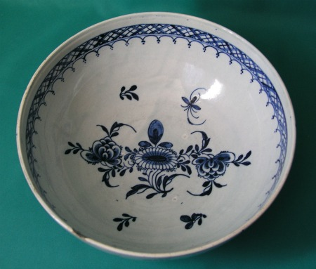 A Liverpool Pearlware Punch Bowl C 1780