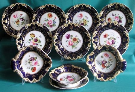 A Part Machin Porcelain Dessert Set Pattern 733, c.1825
