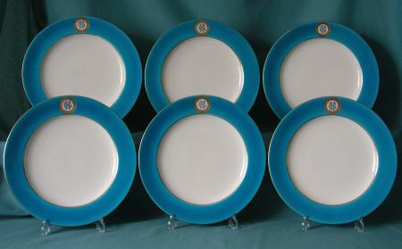 Six Minton Armorial Dinner Plates c.1871
