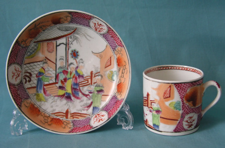 A New Hall Coffee Can and Saucer Pattern 621, c.1795-1800