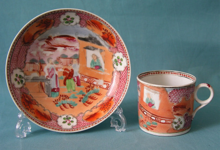 A New Hall Coffee Can and Saucer Pattern 425, c.1795-1800