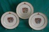 Three Paris Porcelain (La Courtille) Armorial Dinner Plates