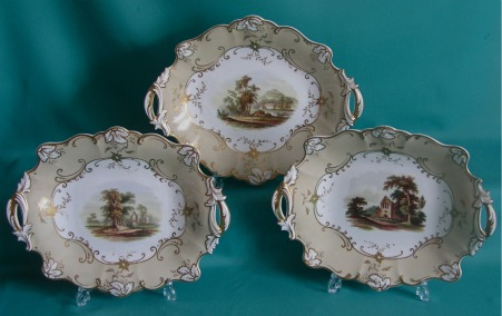 Three Ridgway porcelain dishes c.1850