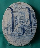 French Faience plaque st. Bruno