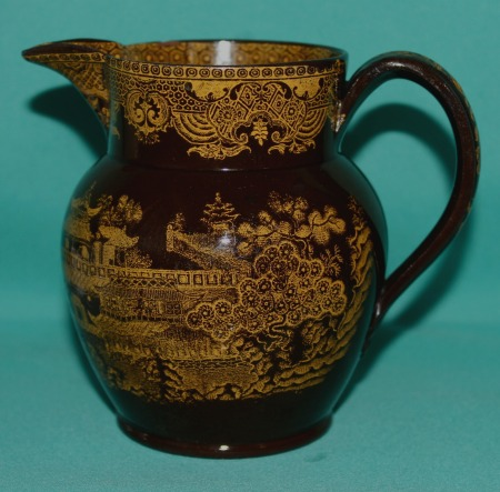 Yellow Transfer Printed Brown Ware Jug Teabowl And Saucer